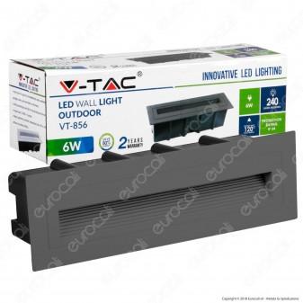 V-Tac VT-856 Faretto Segnapasso LED da Incasso Rettangolare 6W Colore Grigio - SKU 8350