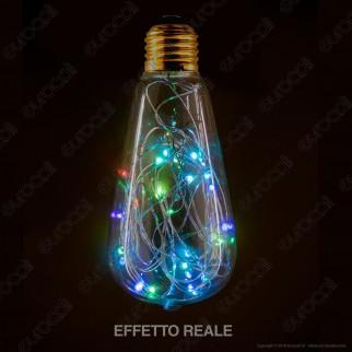 Girard Sudron Lampadina E27 Filo MicroLED RGB Happy In 1,5W Bulb ST64 Effetto Lucciole