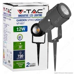 V-Tac VT-857 Faretto LED COB da Giardino 12W con Picchetto Colore Grigio - SKU 7550 / 7551 / 7552