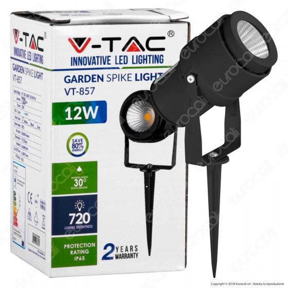 V-Tac VT-857 Faretto LED COB da Giardino 12W con Picchetto Colore Nero - SKU 7544 / 7545 / 7546