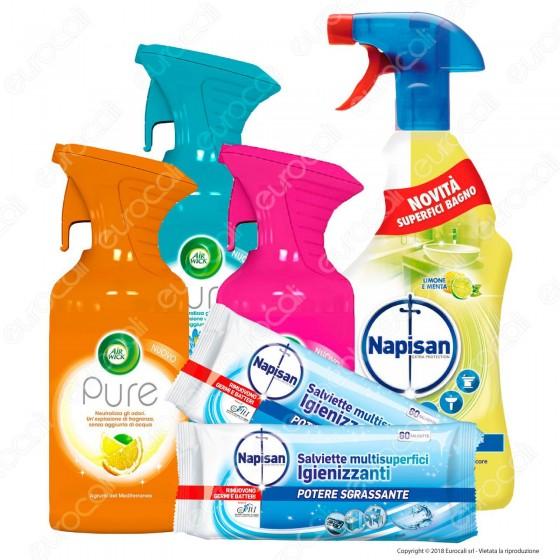 Kit Pulizia: Air Wick Pure Spray + Napisan Salviette Igienizzanti Fresh + Napisan Spray Igienizzante Bagno