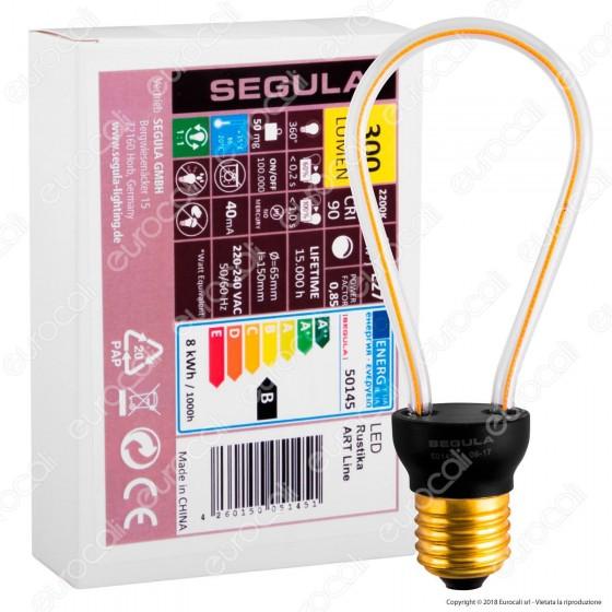 Segula Art Line Lampadina E27 Filamento LED Modellato 8W Bulb Dimmerabile mod. 50145