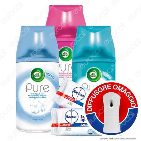 Kit Pulizia: Air Wick Diffusore + Air Wick Ricariche Auto Spray Assortite + Napisan Salviette Igienizzanti