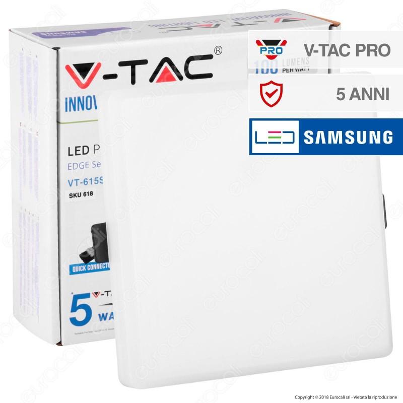 V-Tac PRO VT-615SQ Pannello LED Quadrato 15W SMD da Incasso con Driver con Chip Samsung - SKU 617 / 618 / 619