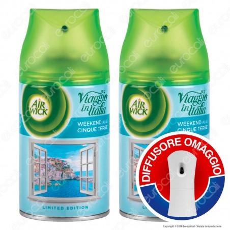 2 Ricariche Air Wick Pure Weekend Alle Cinque Terre + Diffusore Freshmatic Autospray