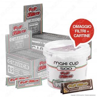 Kit Pop Filters 75 Cartine Corte Italia Silver Line + Maxi Cup 500 Filtri Omaggio