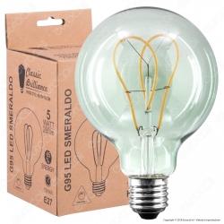 Daylight Lampadina E27 Filamento LED a Doppio Arco 5W Globo G95 con Vetro Verde Smeraldo Dimmerabile - mod. 700726.00A