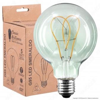 Daylight Lampadina E27 Filamento LED a Doppio Arco 5W Globo G95 con Vetro Verde Smeraldo Dimmerabile