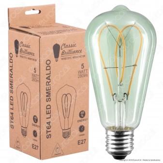 Daylight Lampadina E27 Filamento LED a Doppio Arco 5W Bulb ST64 con Vetro Verde Smeraldo Dimmerabile