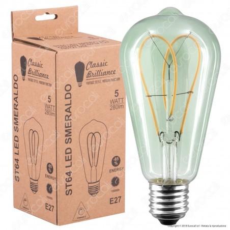 Daylight Lampadina E27 Filamento LED a Doppio Arco 5W Bulb ST64 con Vetro Verde Smeraldo Dimmerabile - mod. 700727.00A