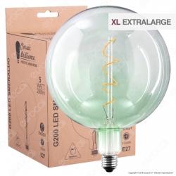 Daylight Lampadina E27 Filamento LED a Spirale 5W Globo G200 con Vetro Verde Smeraldo Dimmerabile - mod. 700693.00A