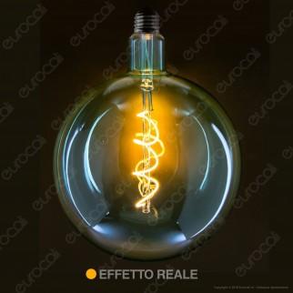 Daylight Lampadina E27 Filamento LED a Spirale 5W Globo G200 con Vetro Verde Smeraldo Dimmerabile