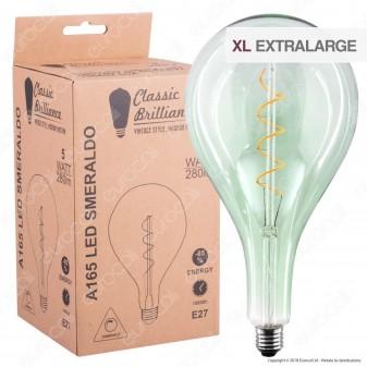 Daylight Lampadina E27 Filamento LED a Spirale 5W Bulb A165 con Vetro Verde Smeraldo Dimmerabile