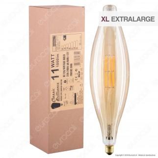 Daylight Lampadina E27 Filamenti LED 11W Tubolare BT120 con Vetro Ambrato Dimmerabile