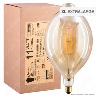 Daylight Lampadina E27 Filamenti LED 11W Tubolare BT180 con Vetro Ambrato Dimmerabile