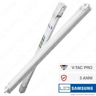 V-Tac PRO VT-15024 Plafoniera Doppia con Tubi LED Nano Plastic T8 G13 22W Chip Samsung Lampadina 150cm - SKU 6440 / 6441