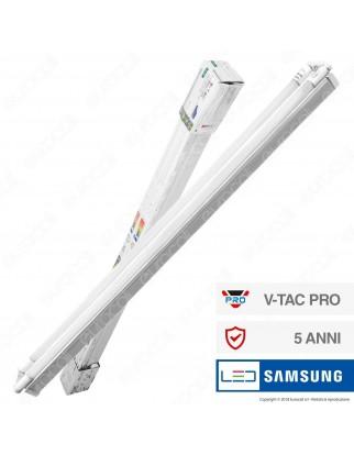 V-Tac PRO VT-12027 Plafoniera Doppia con 2 Tubi LED Nano Plastic T8 G13 18W Chip Samsung Lampadina 120cm - SKU 6444 / 6445