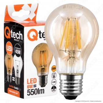 Qtech Lampadina LED E27 6W Bulb A60 Filamento Ambrata - mod. 90010004