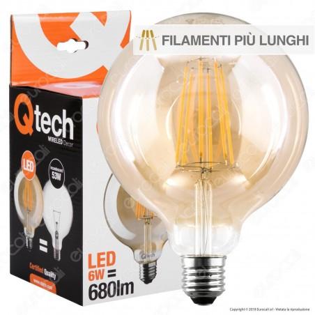 Qtech Lampadina LED E27 6W Globo G125 Filamento Extra-Lungo Ambrata - mod. 90010014