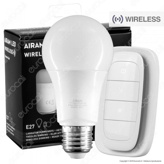 Bot Lighting Airam Starter Set Wireless Lampadina LED E27 9W Bulb A60 Dimmerabile con Telecomando