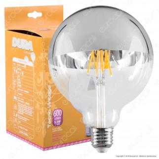 Duralamp Lampadina E27 Filamenti LED 5,5W Globo G125 con Calotta Cromata - mod. LFG1205