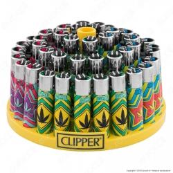 Clipper Large Fantasia Color Weed 1 - Box da 48 Accendini