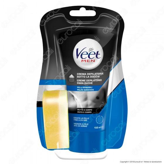 Veet For Men Silk & Fresh Crema Depilatoria Sotto la Doccia per Pelli Sensibili - Tubetto da 150ml