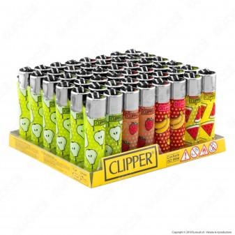 Clipper Large Fantasia Fruit Pattern - Box da 48 Accendini