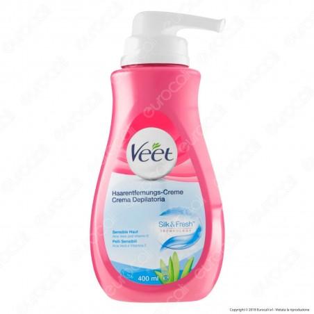 Veet Crema Depilatoria Silk & Fresh Technology per Pelli Sensibili - Flacone da 400ml
