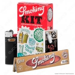 PROV-D00063012 - Kit Smoking 33 Cartine Lunghe Oro + 33 Filtri in carta + 1 Accendino