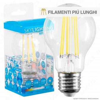 SkyLighting Lampadina LED E27 12W Bulb A60 Filamento Wxtra-Lungo - mod. HPFL-2712