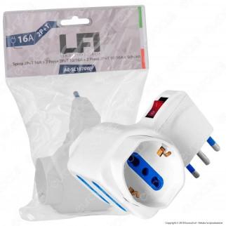 Led Factory Italia Adattatore Quadruplo Salvaspazio con Schuko Colore Bianco con Interruttore - mod. AE-SL1070W