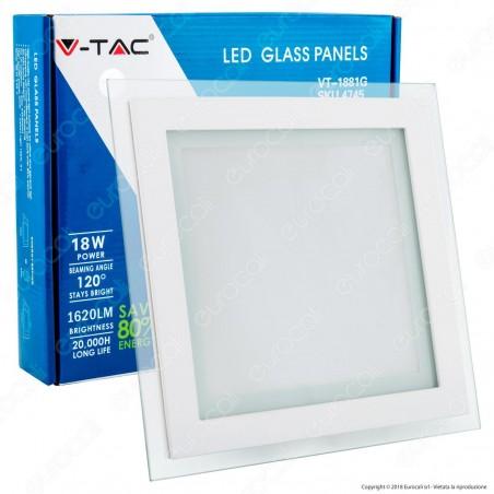 V-Tac VT-1881G SQ Pannello LED Quadrato 18W SMD2835 da Incasso - SKU 4745