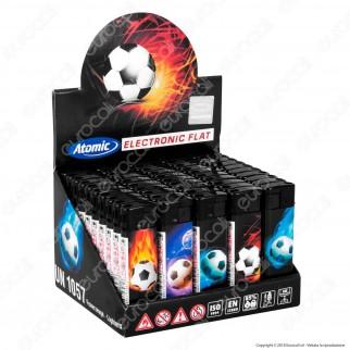 Atomic Electronic Flat Football Accendino Maxi Elettronico Ricaricabile - Box da 50 Accendini