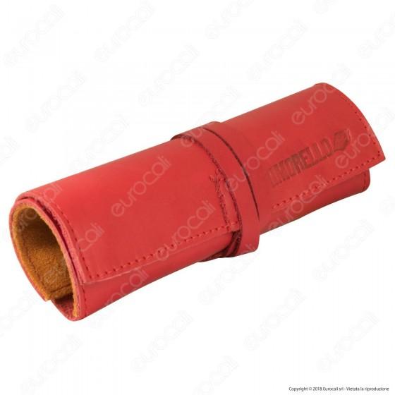 Il Morello Large Portatabacco in Vera Pelle Rossa e Arancione