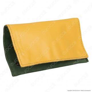 Il Morello Classic Portatabacco in Vera Pelle Gialla e Verde con Zip Interna Rossa