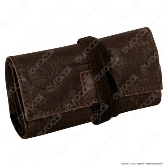 Il Morello Pocket Mini Portatabacco in Vera Pelle Reciclata Colore Marrone 2