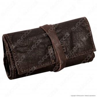 Il Morello Pocket Mini Portatabacco in Vera Pelle Riciclata Colore Marrone 3