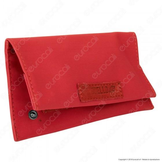 Il Morello Classic Portatabacco in Tessuto Rosso e Inserti in Vera Pelle