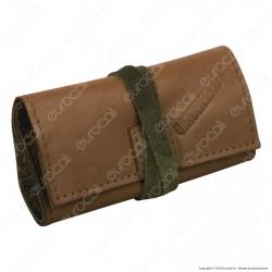 Il Morello Pocket Mini Portatabacco in Vera Pelle Marrone e Pelle Scamosciata Mimetica