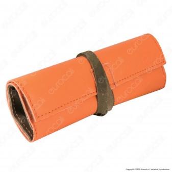 Il Morello Large Portatabacco in Vera Pelle Arancione e Mimetica