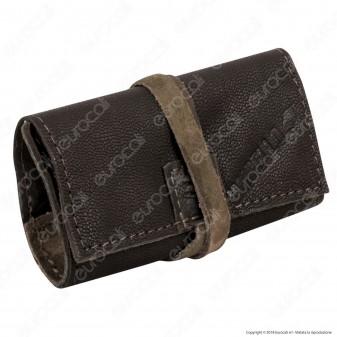 Il Morello Pocket Mini Portatabacco in Vera Pelle Marrone e Pelle Scamosciata Mimetica 2