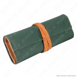 Il Morello Large Portatabacco in Vera Pelle Verde e Arancione