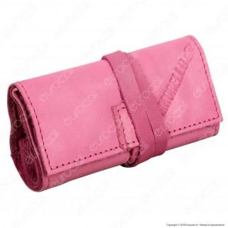 Il Morello Pocket Mini Portatabacco in Vera Pelle Reciclata Colore Rosa 2
