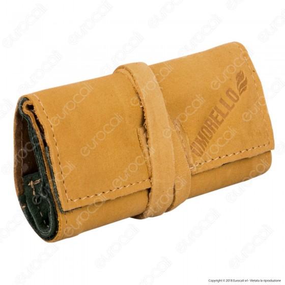 Il Morello Pocket Mini Portatabacco in Vera Pelle Colore Giallo e Verde