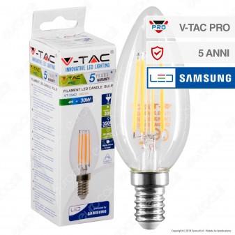V-Tac PRO VT-254D Lampadina LED E14 4W Candela Filament Chip Samsung Dimmerabile - SKU 278