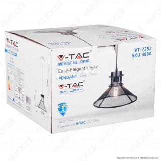 V-TAC VT-7252 Lampadario a Sospensione in Metallo con Portalampada per Lampadine E27 - SKU 3860