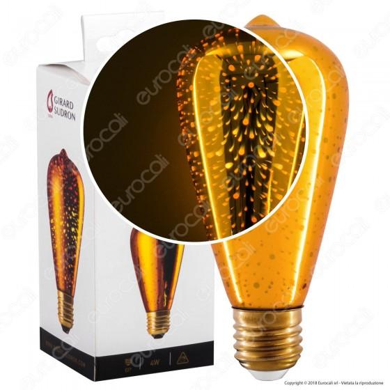 Girard Sudron Lampadina E27 Filamento LED Cosmos 4W Bulb ST64 Vetro Specchiato Effetto 3D
