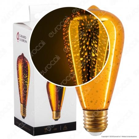 Girard Sudron Lampadina E27 Filamento LED Cosmos 4W Bulb ST64 Vetro Specchiato Oro Effetto 3D - mod. 16001 [TERMINATO]