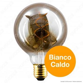 Girard Sudron Lampadina E27 Filamento LED a Doppia Spirale 4W Globo G95 con Vetro Ambrato Oscurato Dimmerabile - mod. 716692